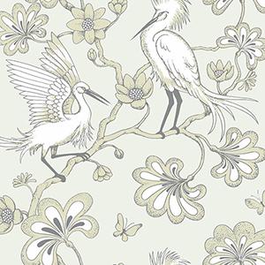 Florence Broadhurst Beige Egrets Wallpaper