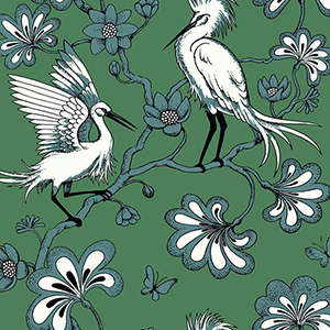Florence Broadhurst Green Egrets Wallpaper