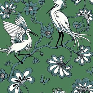 Florence Broadhurst Green Egrets Wallpaper