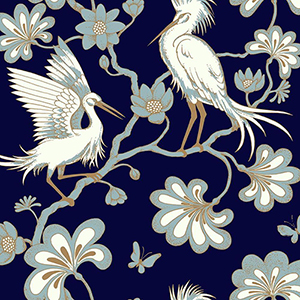 Florence Broadhurst Navy Egrets Wallpaper