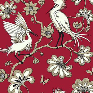 Florence Broadhurst Red Egrets Wallpaper