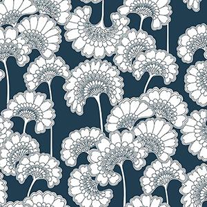 Florence Broadhurst Dark Blue Japanese Floral Wallpaper