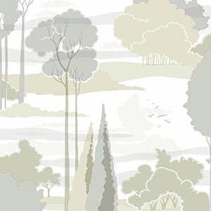 Florence Broadhurst Tan and Grey Macarthur Park Wallpaper