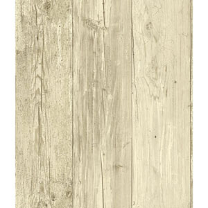Welcome Home Cream, Light Taupe and Medium Taupe Wide Wooden Planks Wallpaper