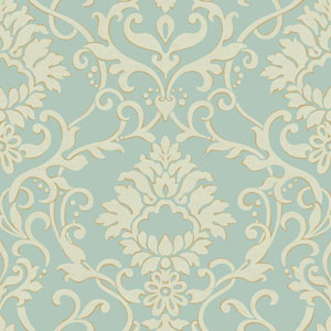 Filigree Dancing Damask Green Wallpaper