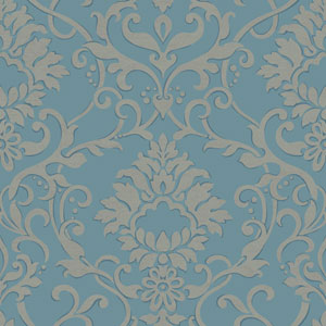 Filigree Dancing Damask Blue Wallpaper