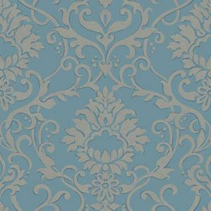 Filigree Dancing Damask Blue Wallpaper