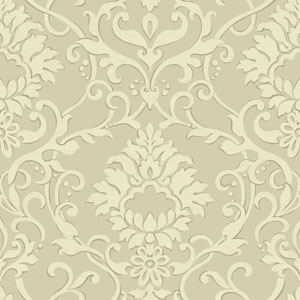Filigree Dancing Damask Beige Wallpaper