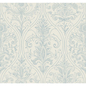 Filigree Detail Damask Ivory Wallpaper