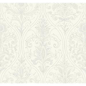 Filigree Detail Damask White Wallpaper