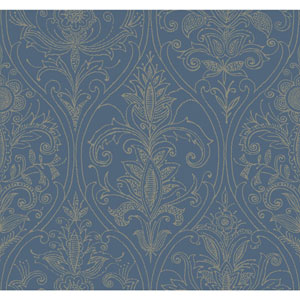 Filigree Detail Damask Blue Wallpaper
