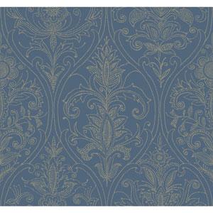Filigree Detail Damask Blue Wallpaper