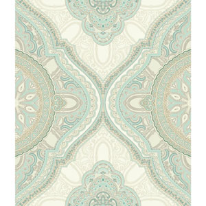 Filigree Paisley Medallion Blue Wallpaper