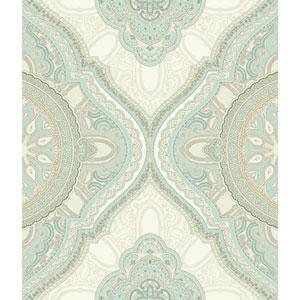 Filigree Paisley Medallion Blue Wallpaper