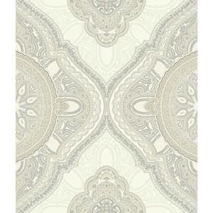 Filigree Paisley Medallion Beige Wallpaper