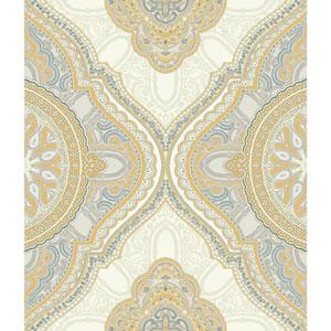 Filigree Paisley Medallion Yellow Wallpaper