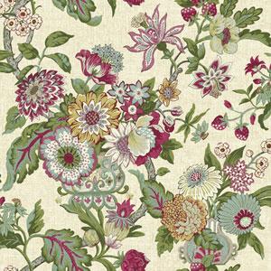 Waverly Global Chic Beige and Magenta Graceful Garden Wallpaper