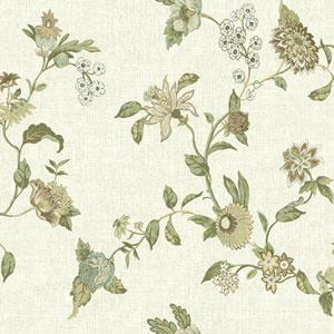 Waverly Global Chic Cream and Beige Graceful Garden Trail Wallpaper