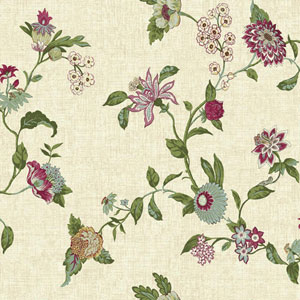 Waverly Global Chic Beige and Magenta Graceful Garden Trail Wallpaper