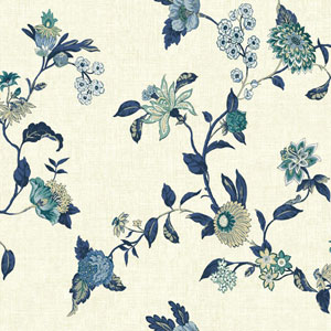 Waverly Global Chic Cream and Blue Graceful Garden Trail Wallpaper