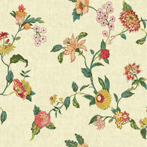 Waverly Global Chic Beige and Yellow Graceful Garden Trail Wallpaper