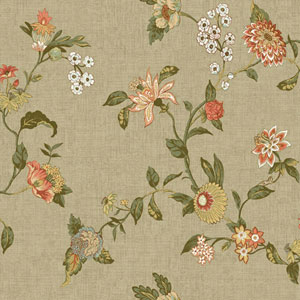 Waverly Global Chic Light Tan and Orange Graceful Garden Trail Wallpaper