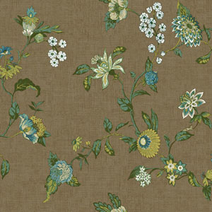 Waverly Global Chic Brown and Teal Graceful Garden Trail Wallpaper