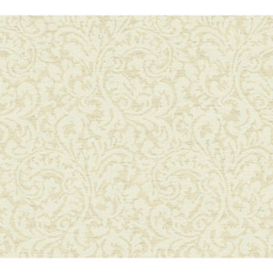 Waverly Global Chic Beige and Cream Namaste Scroll Wallpaper