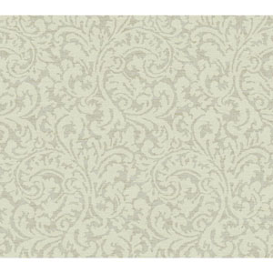 Waverly Global Chic Pale Grey and Cream Namaste Scroll Wallpaper