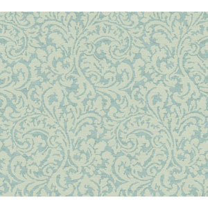 Waverly Global Chic Aqua and Teal Namaste Scroll Wallpaper