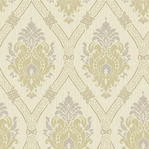 Waverly Global Chic Cream and Tan Dressed Up Damask Wallpaper