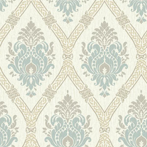 Waverly Global Chic Cream and Aqua Dressed Up Damask Wallpaper