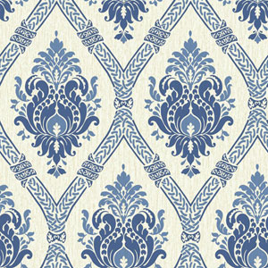 Waverly Global Chic White and Blue Dressed Up Damask Wallpaper