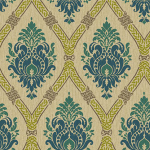 Waverly Global Chic Beige and Blue Dressed Up Damask Wallpaper