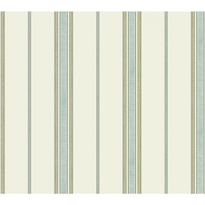 Waverly Global Chic Off-White and Aqua Incense Stripe Wallpaper