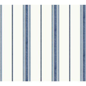 Waverly Kids White and Navy Incense Stripe Wallpaper