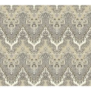 Waverly Global Chic Cream and Grey Palace Safari Wallpaper