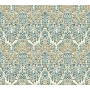 Waverly Global Chic Blue and Beige Palace Safari Wallpaper