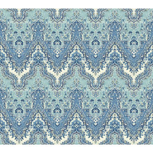Waverly Global Chic Blue and White Palace Safari Wallpaper