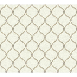Waverly Global Chic Beige and Light Taupe Dot Trellis Wallpaper