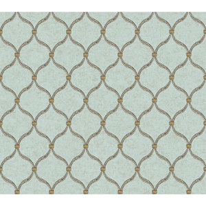 Waverly Global Chic Pale Aqua and Tan Dot Trellis Wallpaper