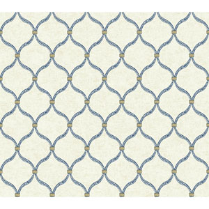 Waverly Global Chic White and Blue Dot Trellis Wallpaper