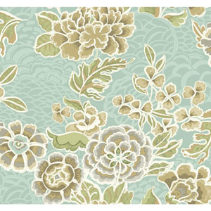 Waverly Global Chic Aqua and Taupe Zen Garden Wallpaper
