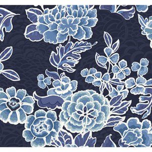 Waverly Global Chic Blue and Aqua Zen Garden Wallpaper