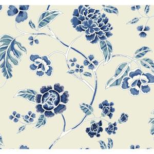 Waverly Global Chic Beige and Blue Zen Garden Trail Wallpaper