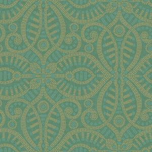 Waverly Global Chic Dark Green and Tan Belle of the Ball Wallpaper