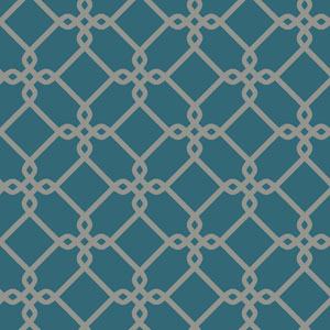 Ashford Geometrics Teal and Grey Threaded Links Wallpaper