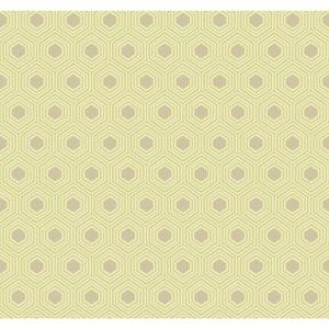 Ashford Geometrics Light Yellow Green and Taupe Honeycomb Wallpaper