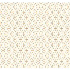 Ashford Geometrics White and Orange Diamond Lattice Wallpaper