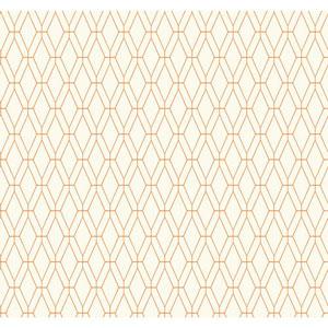 Ashford Geometrics White and Orange Diamond Lattice Wallpaper